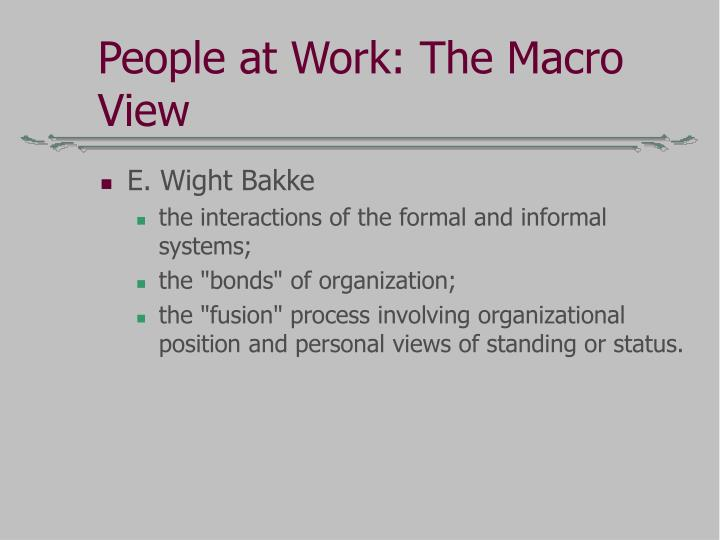 People at Work: The Macro View