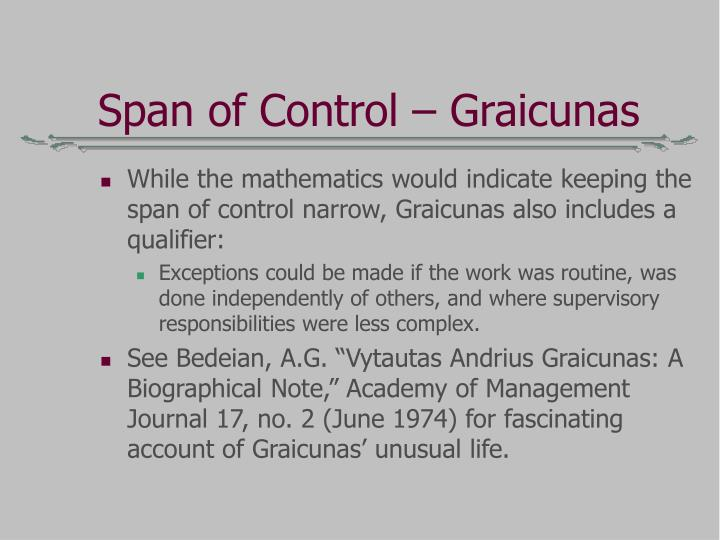 Span of Control – Graicunas