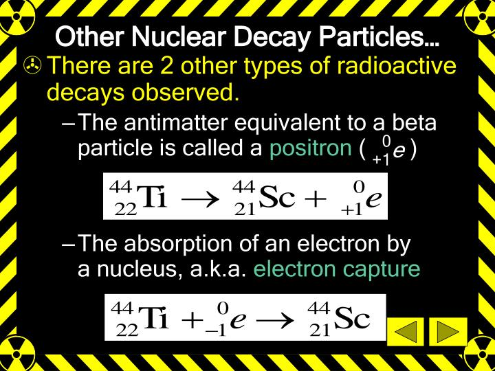 The antimatter equivalent to a beta particle is called a