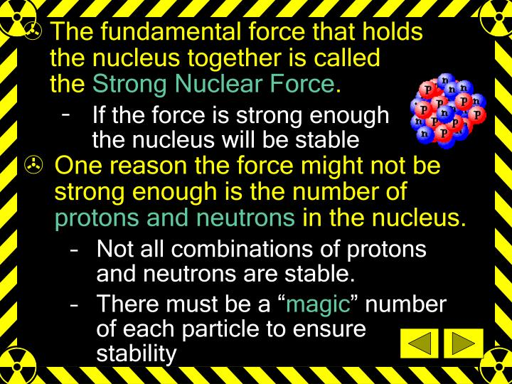 The fundamental force that holds    the nucleus together is called           the