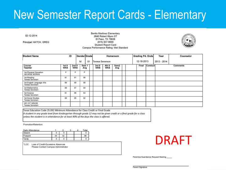 New Semester Report Cards - Elementary