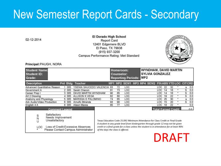 New Semester Report Cards - Secondary