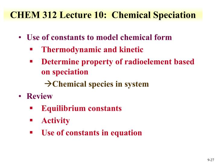 CHEM 312 Lecture 10:  Chemical