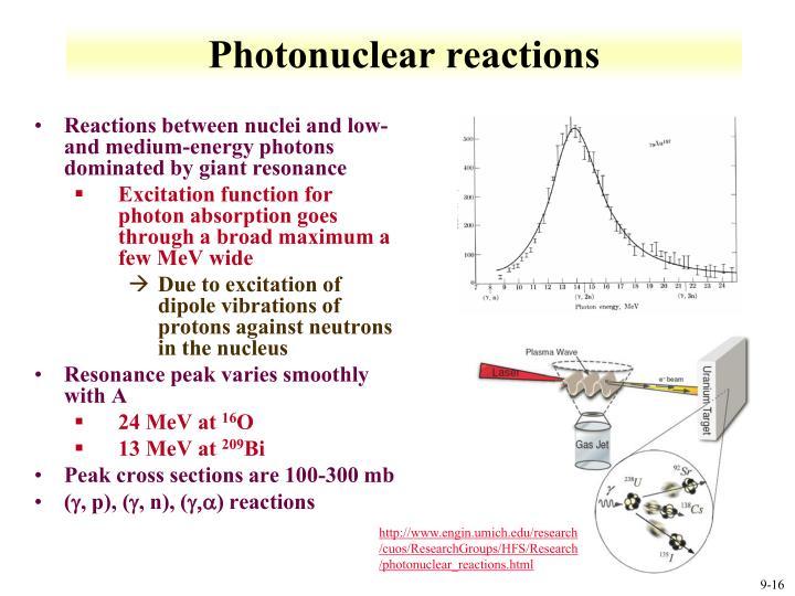 Photonuclear reactions