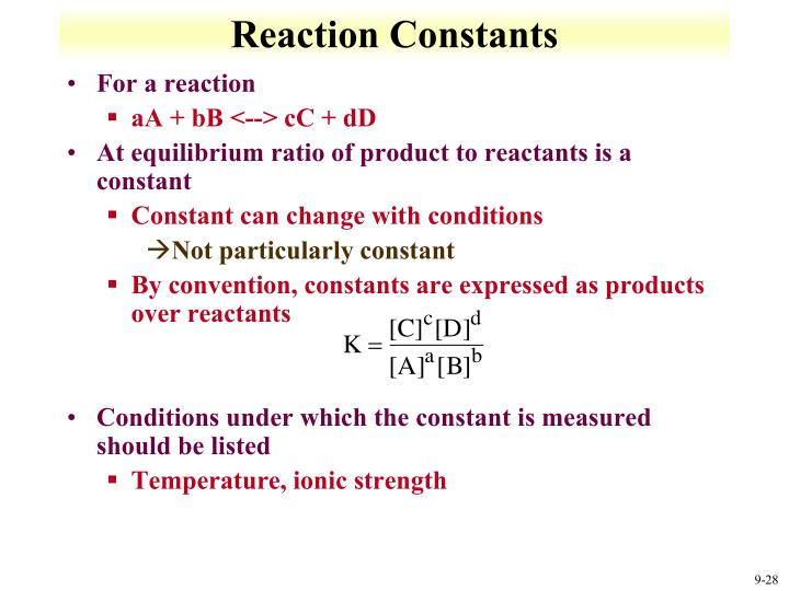 Reaction Constants