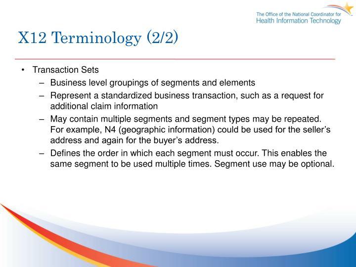 X12 Terminology (2/2)