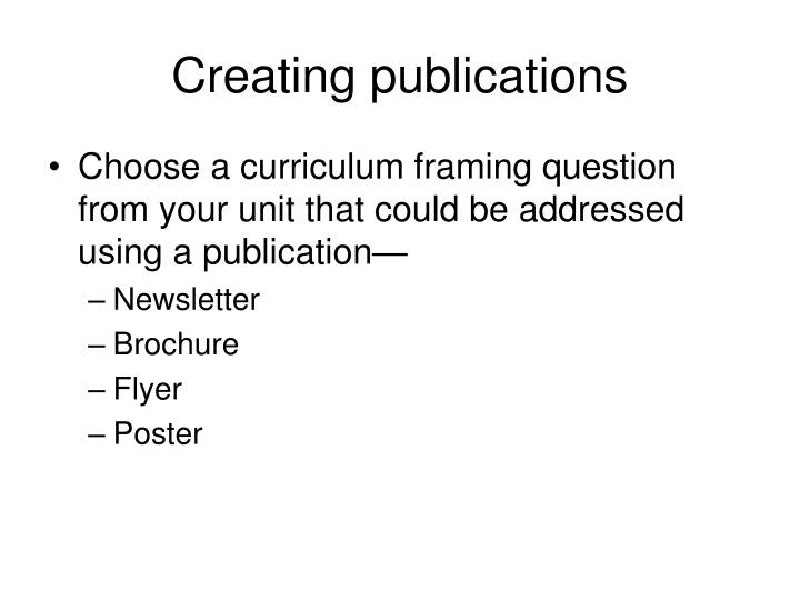 Creating publications