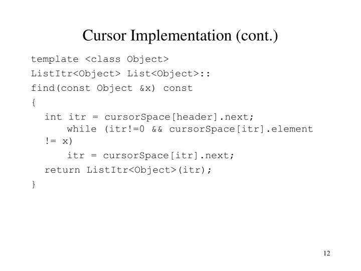 Cursor Implementation (cont.)