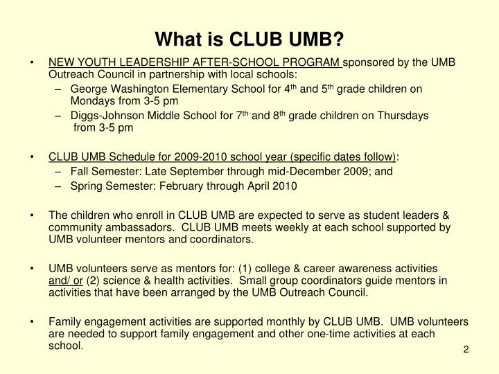 What is club umb