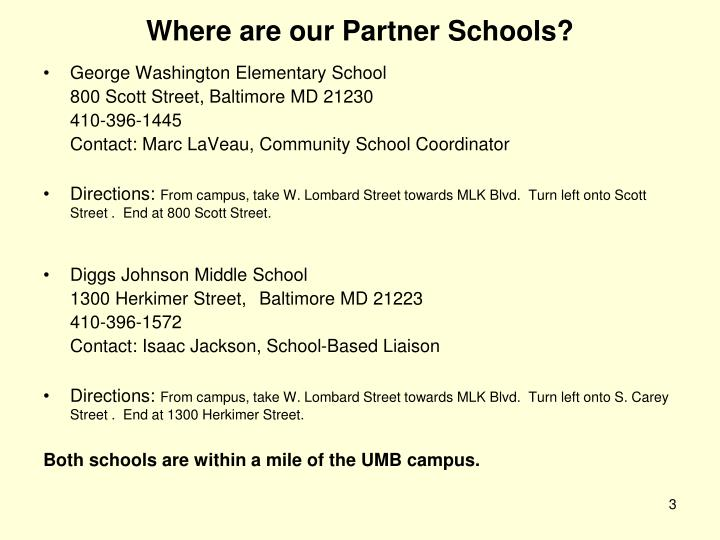 Where are our partner schools
