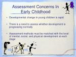 assessment concerns in early childhood