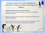 concerns about no child left behind nclb provisions children with special needs