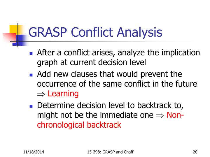 GRASP Conflict Analysis