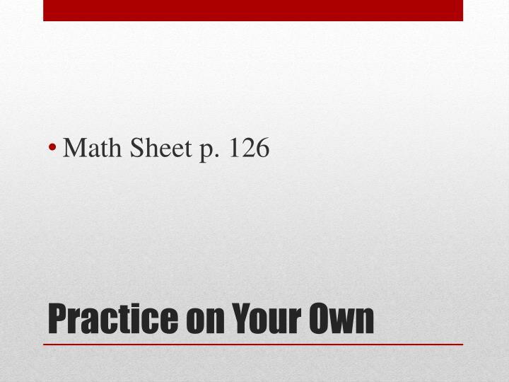 Math Sheet p. 126