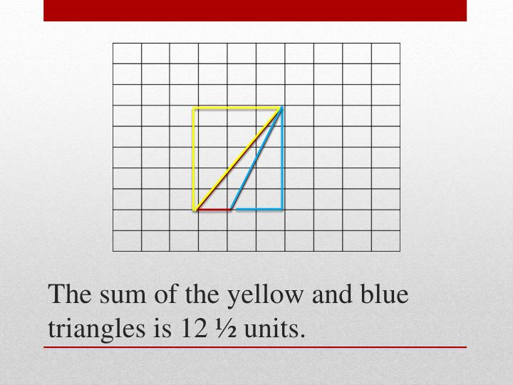 The sum of the yellow and blue triangles is 12 ½ units.