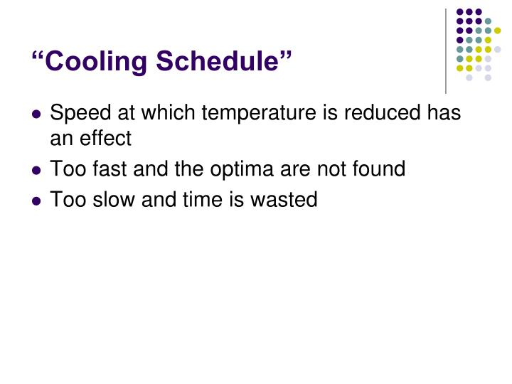 """""""Cooling Schedule"""""""