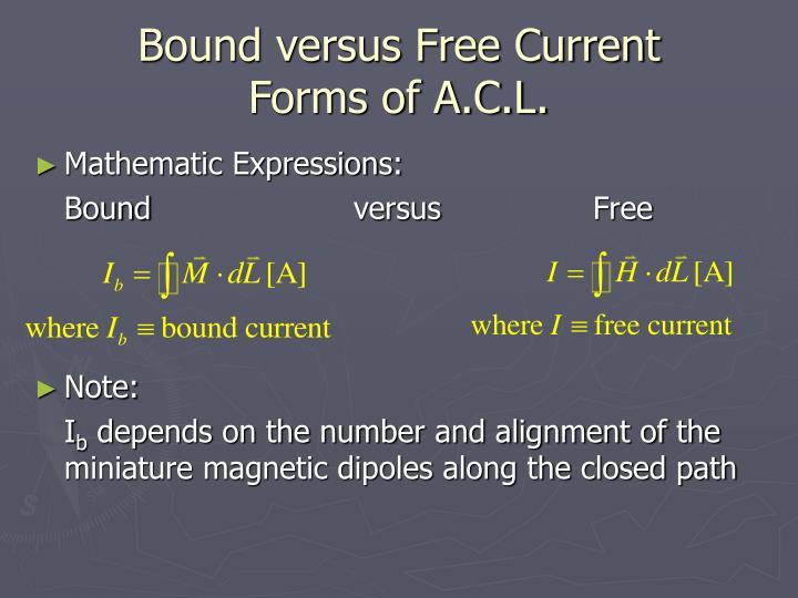 Bound versus Free Current
