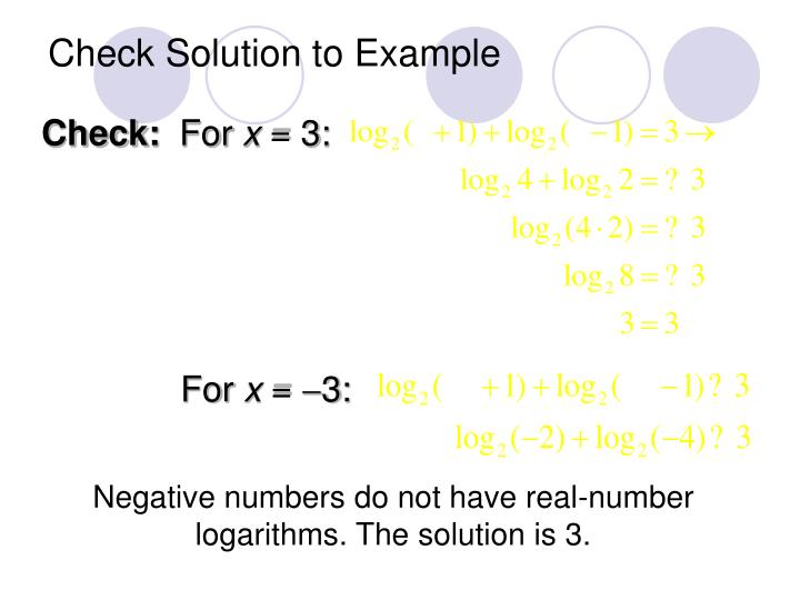 Check Solution to Example