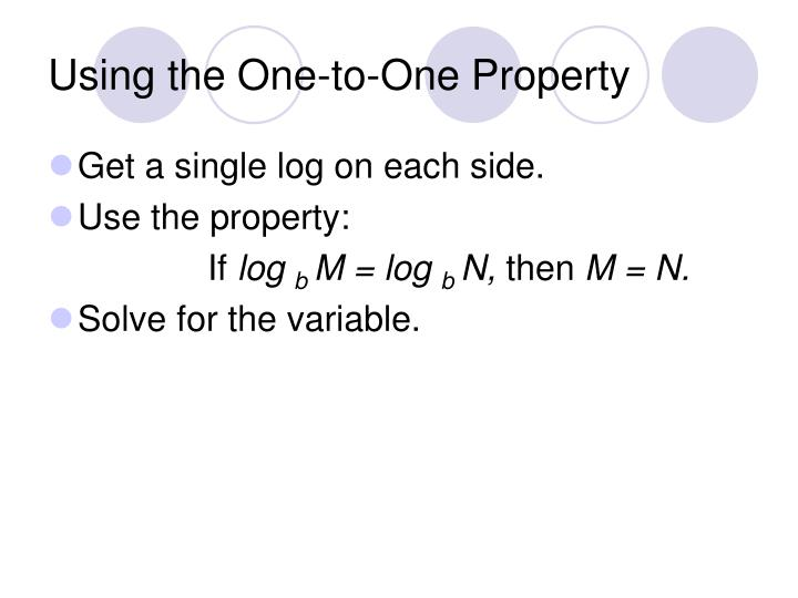 Using the One-to-One Property