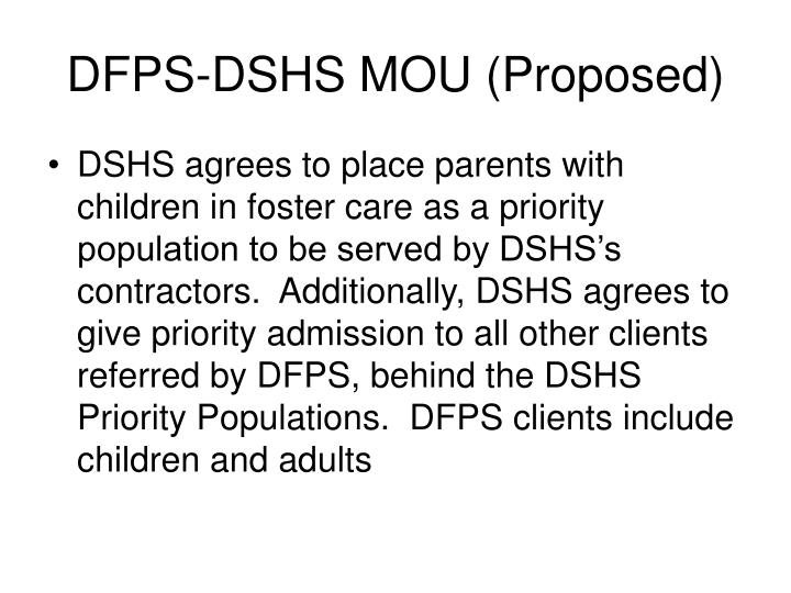 DFPS-DSHS MOU (Proposed)