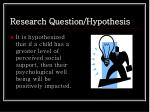 research question hypothesis