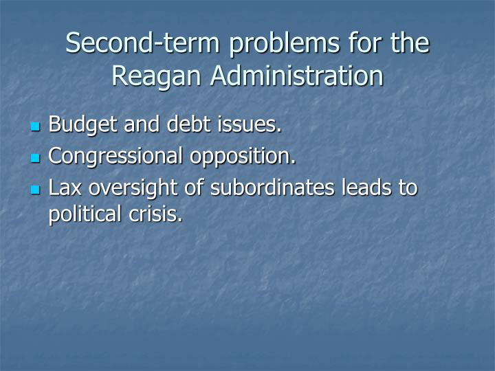 Second-term problems for the Reagan Administration