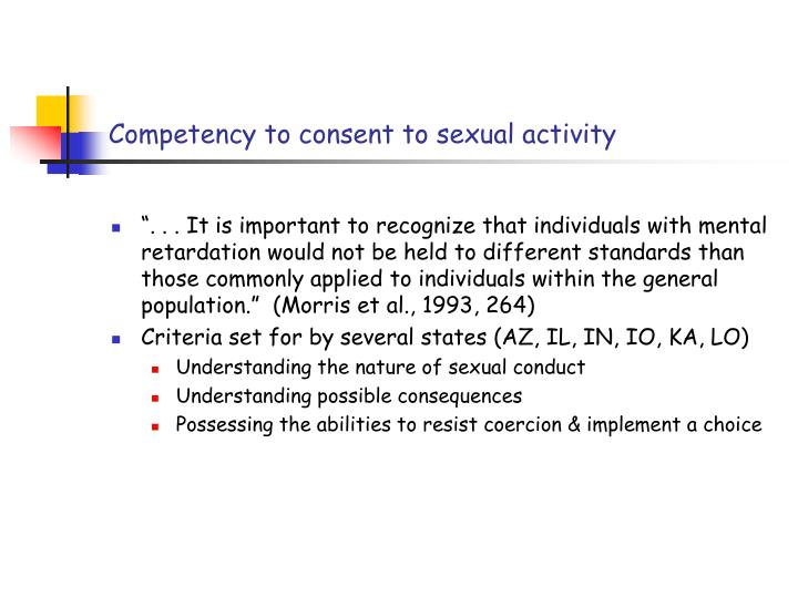 Competency to consent to sexual activity