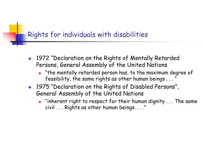 Rights for individuals with disabilities