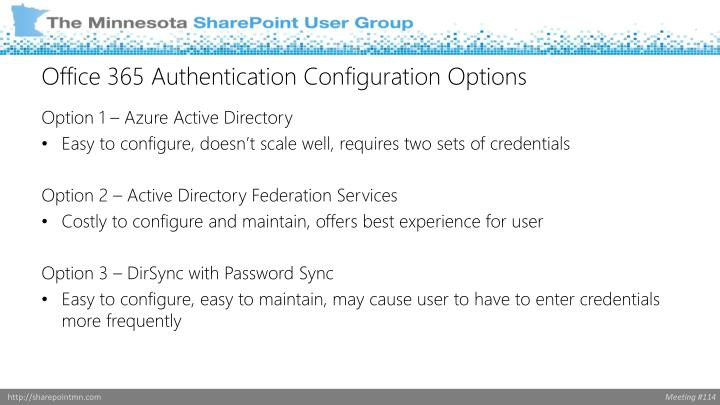 Office 365 Authentication Configuration Options