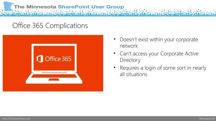 Office 365 Complications