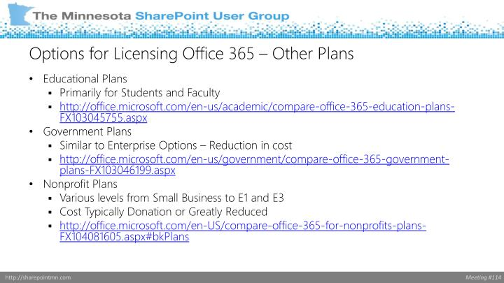 Options for Licensing Office