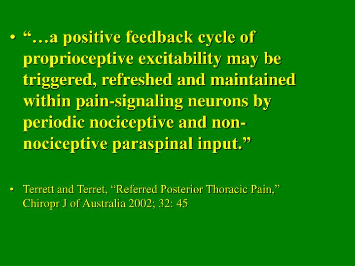 """…a positive feedback cycle of proprioceptive excitability may be triggered, refreshed and maintained within pain-signaling neurons by periodic nociceptive and non-nociceptive paraspinal input."""