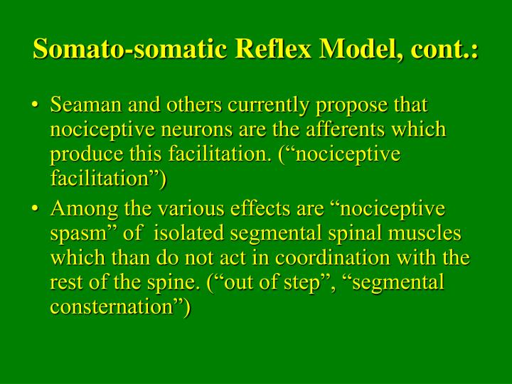 Somato-somatic Reflex Model, cont.: