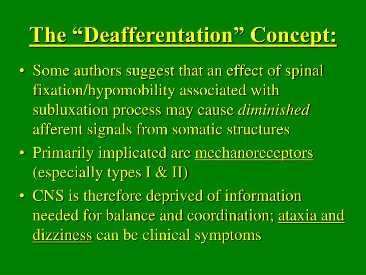 "The ""Deafferentation"" Concept:"
