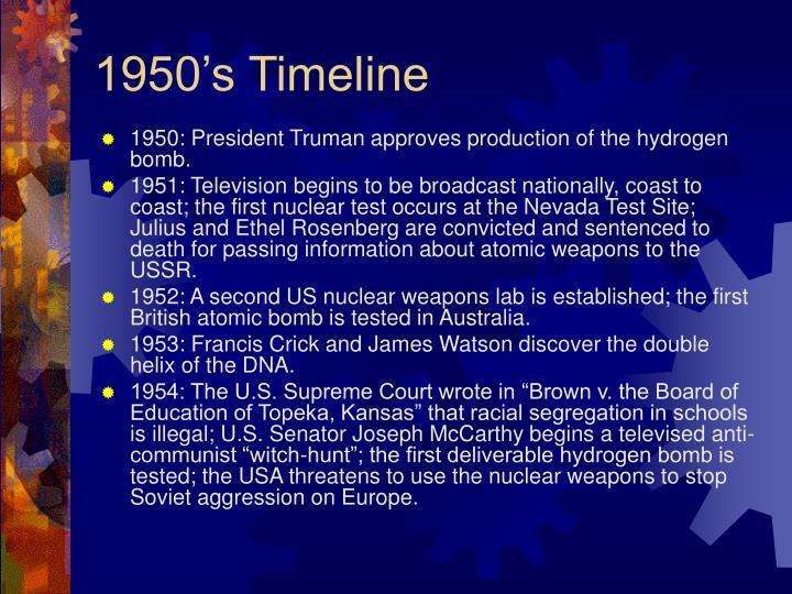 1950's Timeline
