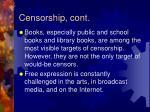censorship cont