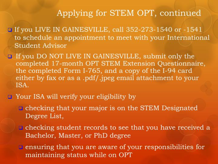 Applying for STEM OPT, continued