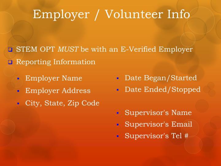 Employer / Volunteer Info