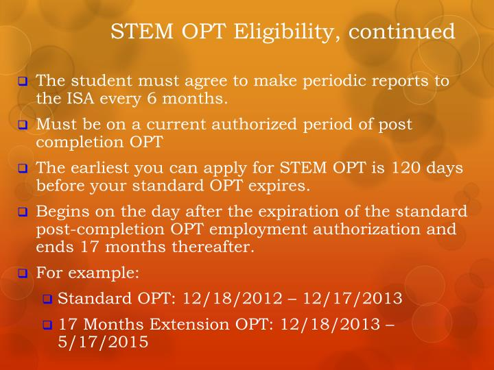 STEM OPT Eligibility, continued