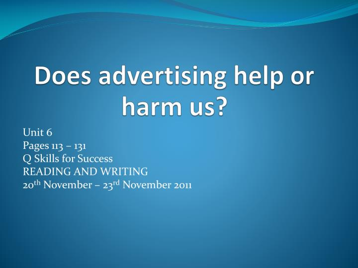 does advertising help or harm us