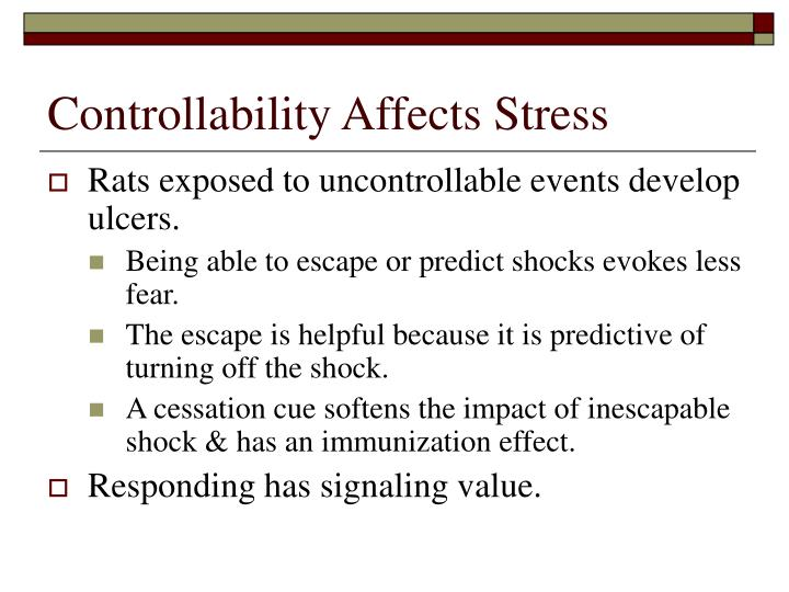 Controllability Affects Stress