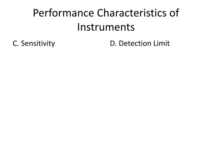 Performance Characteristics of Instruments