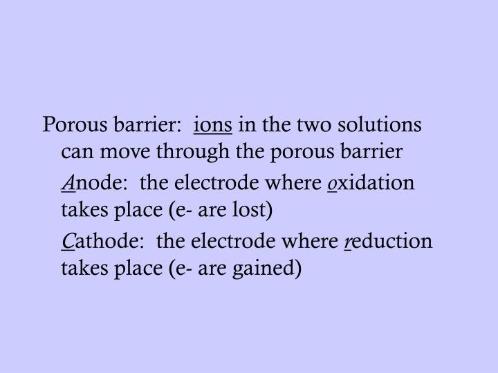 Porous barrier: