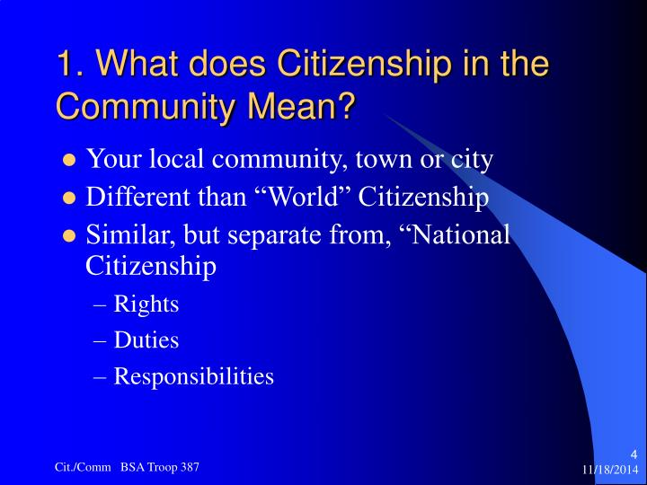 does mean citizen Citizen definition: 1 a person who is a member of a particular country and who has rights because of being born there or because of being given rights, or a person who lives in a particular town or city: 2 a person who was born in a particular country and has certain rights or has been given.