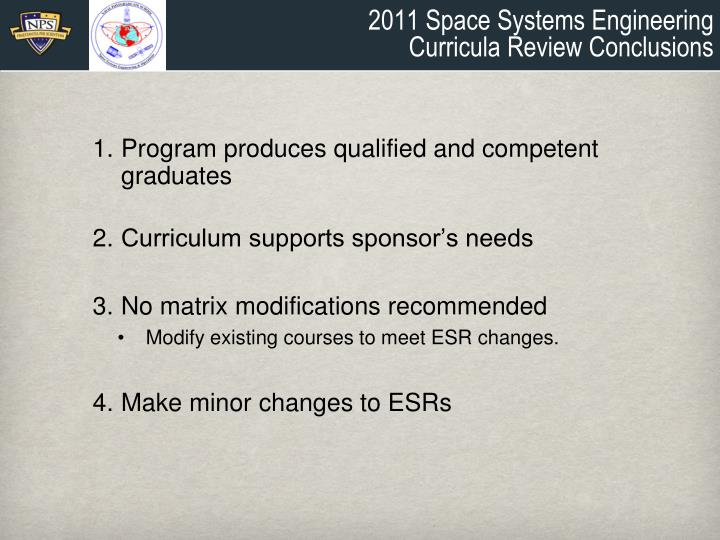 2011 Space Systems Engineering