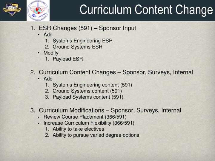 Curriculum Content Change