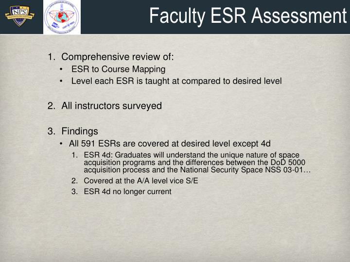 Faculty ESR Assessment