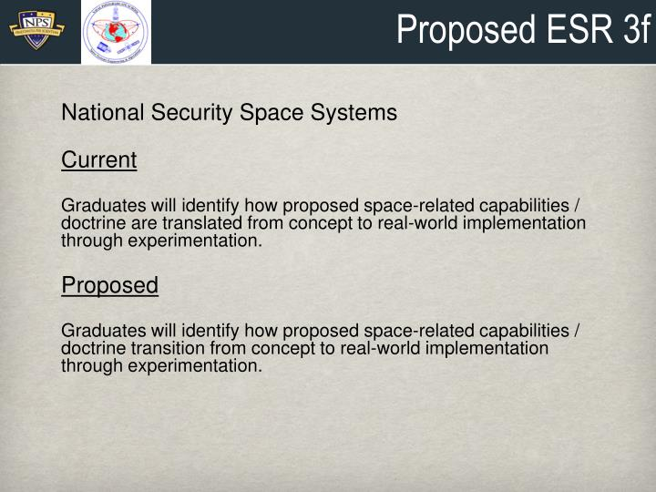 Proposed ESR 3f