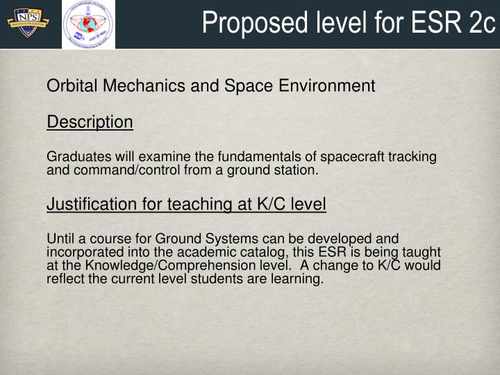 Proposed level for ESR 2c