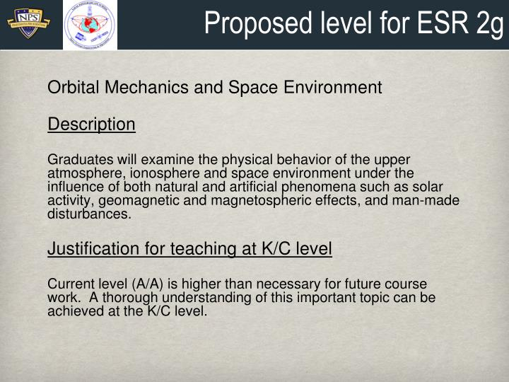 Proposed level for ESR 2g